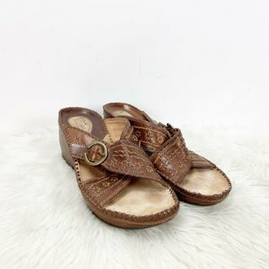 Clarks Brown Leather Stitch Buckle Wedged Sandals